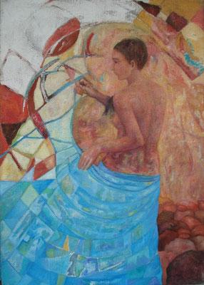 Wasserfäden weben,  2006, Öl auf Jute, 120 x 85 cm