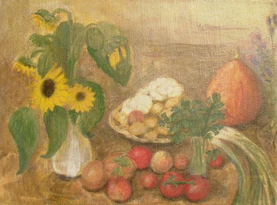 Sonnenblumen, Karfiol und Kürbis, 40 x 30, 2010, Acryl auf Molino