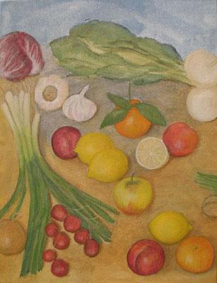 Kraut und Rüben mit Zitronen, 70 x 60, Acryl und Öl auf Molino     200 €