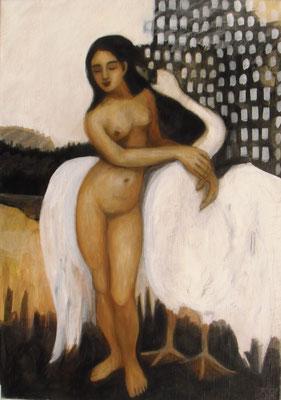 Leda und der Schwan, 2009  120 x 85 cm, Acryl auf Molino    300,-