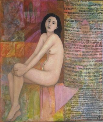 Muse, 2011  110 x 85 cm, Seidenpapier u. Acryl auf Molino    400,-
