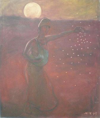 Abendsaat,  2003, Öl auf Molino, 110 x 85 cm