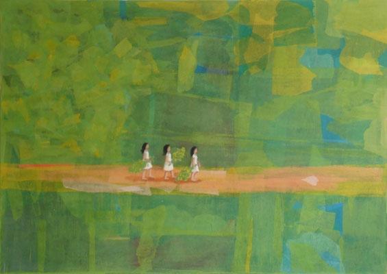 Der Weg, 2011  120 x 85 cm, Seidenpapier u. Acryl auf Molino    verschenkt