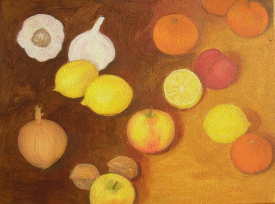 Knoblauch und Zitronen, Zwiebel und Mandarinen, 40 x 30, Acryl und Öl auf Molino