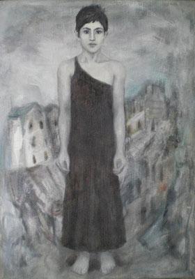 Joan aus der Zeit, 2008  70 x 50 cm, Öl auf Molino    200,-