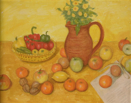 Krug, Mandarinen und Papier, 30 x 24,  Acryl u. Öl auf Molino     100 €
