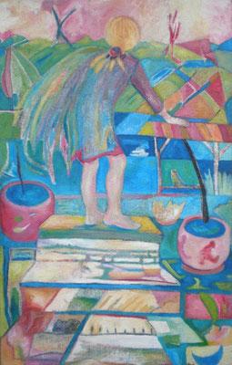 Gute Aussicht über Stock und Stein,  2005, Öl auf Jute, 110 x 70 cm