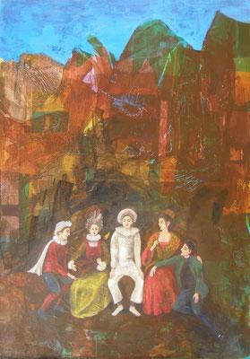 Der zufriedene Pierrot (nach Watteau), 2014  120 x 85 cm, Seidenpapier und Acryl auf Molino