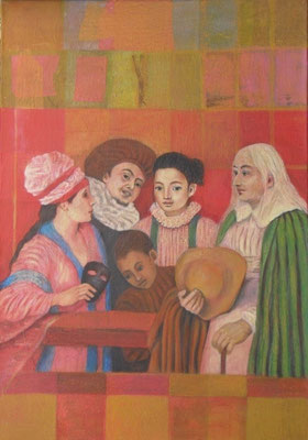 Das Ensemble (nach Watteau), 2014  100 x 80 cm, Seidenpapier     400 €