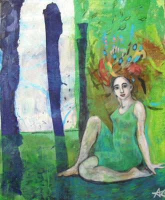 Mädchen im Wald, 2011  110 x 90 cm, Seidenpapier u. Acryl auf Molino    200,-