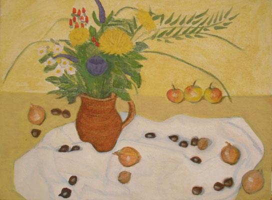 Blumen, Zwiebel und Kastanien, 40 x 30, Acryl und Öl auf Mollino     200 €