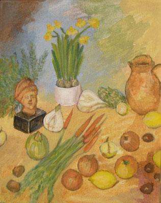 Tonkopf, Narzissen, Karotten, 2015, 30 x 24, Acryl und Öl auf Mollino     200 €