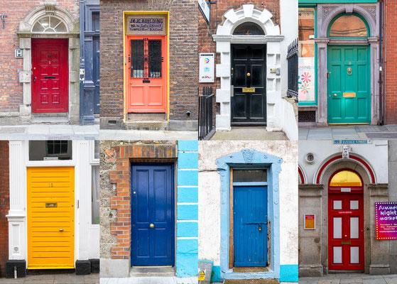 Bunte Haustüren als Orientierung für betrunkene Männer :) Dass in Dublin gerne getrunken wird, ist bekannt. Mit zu viel Guinness oder Whiskey im Blut geht oft auch der Orientierungssinn verloren.