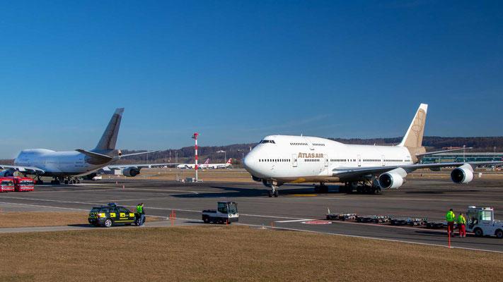 Ankunft Atlas Air N322SG – Boeing 747-400 – 24.2.2019 Zürich Airport