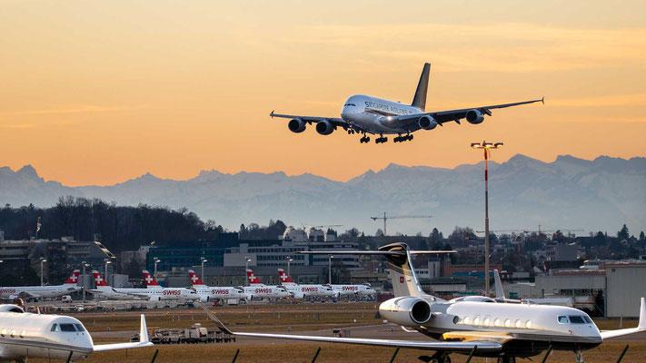 Landung Piste 28 - Singapore Airline A380 – 24.02.2019