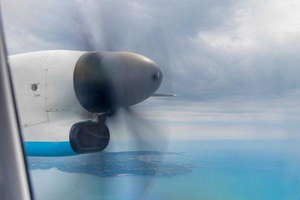 Kurzer Flug von Jersey nach Guernsey.