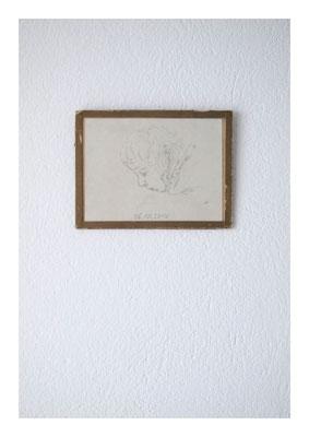 Pinkus, 2010, Bleistift auf Karton, Glas, Klebeband, 12 x 16 cm