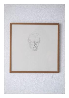 Harlop, 2012, Tusche auf Papier, Glas, Klebeband, 22,5 x 22,5 cm