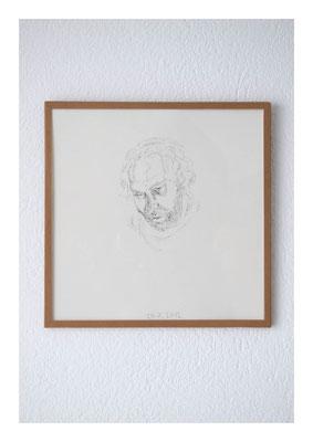 Sven-Felix, 2012, Tusche auf Papier, Glas, Klebeband, 22,5 x 22,5 cm