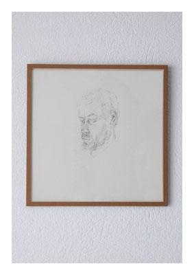 Henrik, 2012, Tusche auf Papier, Glas, Klebeband, 22,5 x 22,5 cm