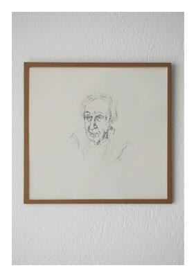 Regine, 2012, Tusche auf Papier, Glas, Klebeband, 22,5 x 23,5 cm