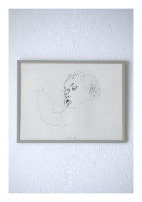 Pinkus, 2010, Tusche auf Papier, Glas, Klebeband, 22,5 x 30 cm