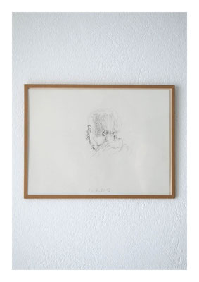 Regine, 2012, Tusche auf Papier, Glas, Klebeband, 22,5 x 30 cm