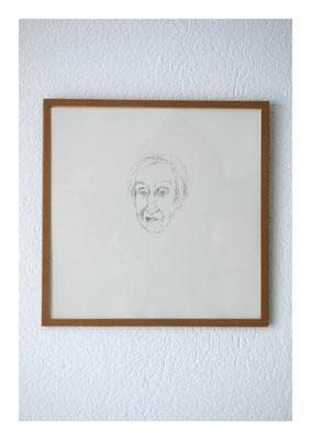 Regine, 2012, Tusche auf Papier, Glas, Klebeband, 22,5 x 22,5 cm