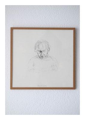 Sven-Felix, 2012, Tusche auf Papier, Glas, Klebeband, 22,5 x 23,5 cm
