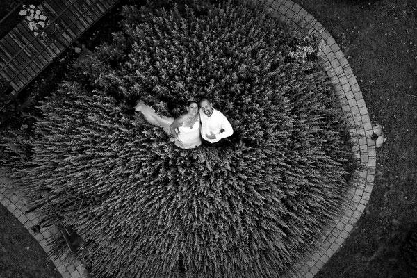 Mariage A&G - Photo de couple aérienne par drone - Polaincourt - Haute-Saône