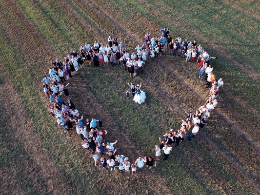 Mariage J&M - Photo de groupe aérienne par drone - Gevigney-Mercey - Haute-Saône