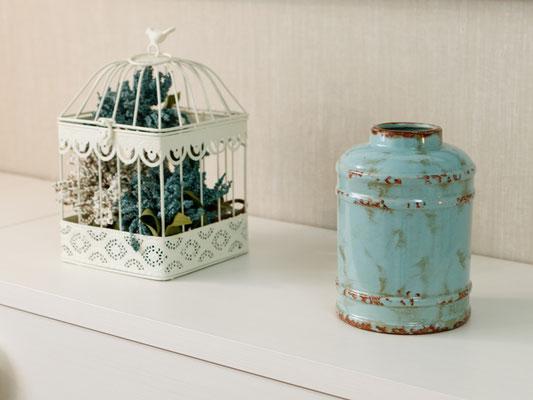 bote de cerámica, bote decorativo turquesa, jaula decorativa