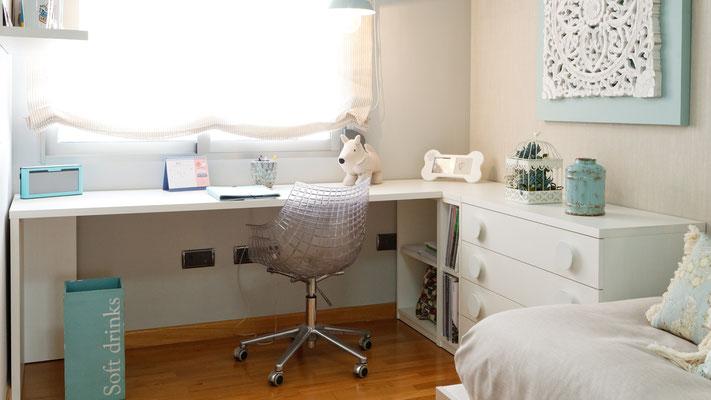 escritorio, decoración , habitación juvenil