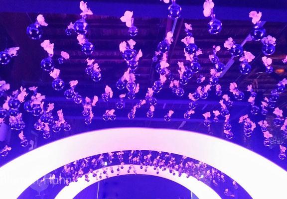 Deckendekoration, Orchideen in Glasviolen