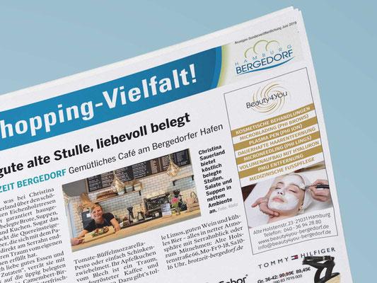"""<b>KUNDE:</b>Beauty4You Bergedorf <br /> <b>PRODUKT:</b> Inselanzeige """"Shopping Vielfalt"""" Bille Wochenblatt"""