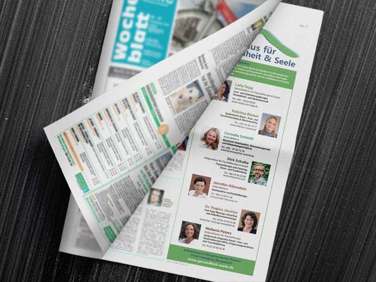 <b>KUNDE:</b>Haus für Gesundheit und Seele <br /> <b>PRODUKT:</b> Anzeige im Bille Wochenblatt