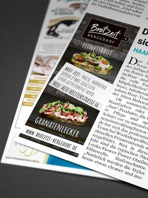 """<b>KUNDE:</b>Brotzeit Bergedorf <br /> <b>PRODUKT:</b> Inselanzeige """"Shopping Vielfalt"""" Bille Wochenblatt"""