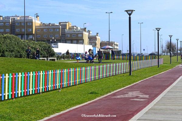 Promenadenbereich vor dem CP mit Spielplatz. Es gibt auch einen richtigen Radweg.