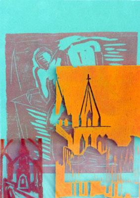 Farbholzschnitt auf Papier + Plexiglas I