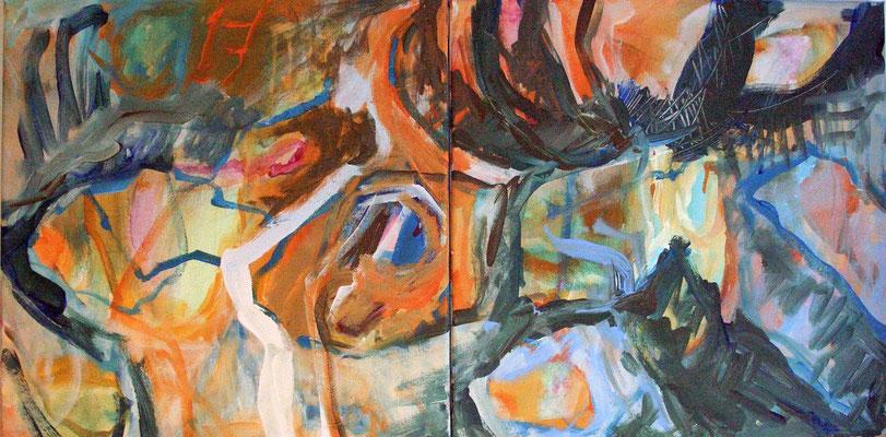 Acrylmalerei: Kreuzungen (topographisch) II