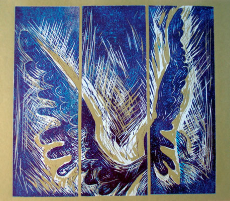 Farbholzschnitt: Flügel II