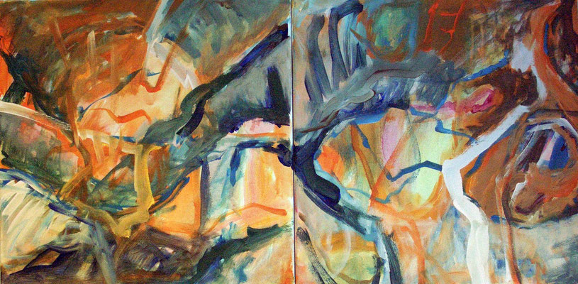 Acrylmalerei: Kreuzungen (topographisch) I