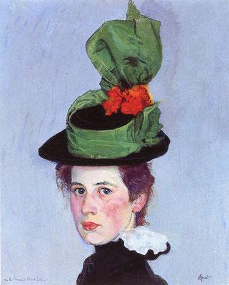 Der grüne Hut, Öl/Leinwand, 1897-98