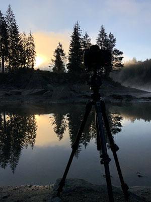 Fotografieren am Caumasee