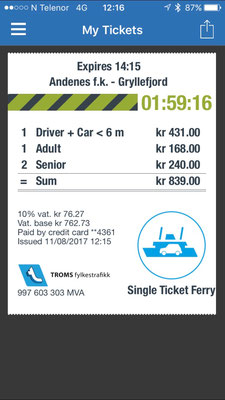App Troms Mobillett für Fähren in Norwegen rund um Tromsö / Lofoten, mit 30% Vergünstigung Discount