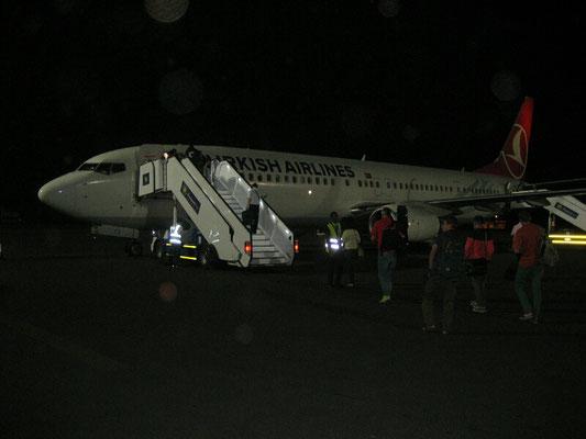 Das Flugzeug vor dem Abflug nach Istanbul