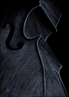 Cello - Klangkörper  Original verkauft  Repro 1/2  4/2019  41x53 cm  mit weißem Passepartout und schwarzem Holzrahmen  180.-€