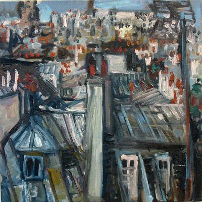 les toits, 50x50cm, huile, 2008, vendu