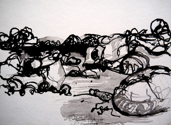 encre de chine 17, 30x21cm, 2010, Algérie