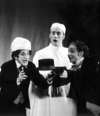"""With M. Marceau in """"Le Chapeau Melon"""""""